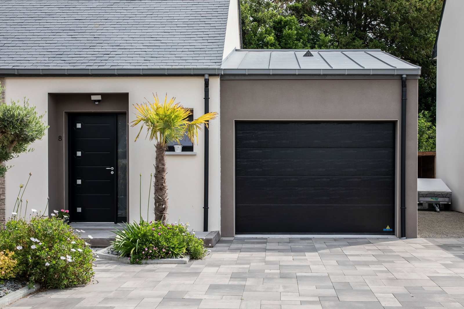 entrée garage maison plain pied