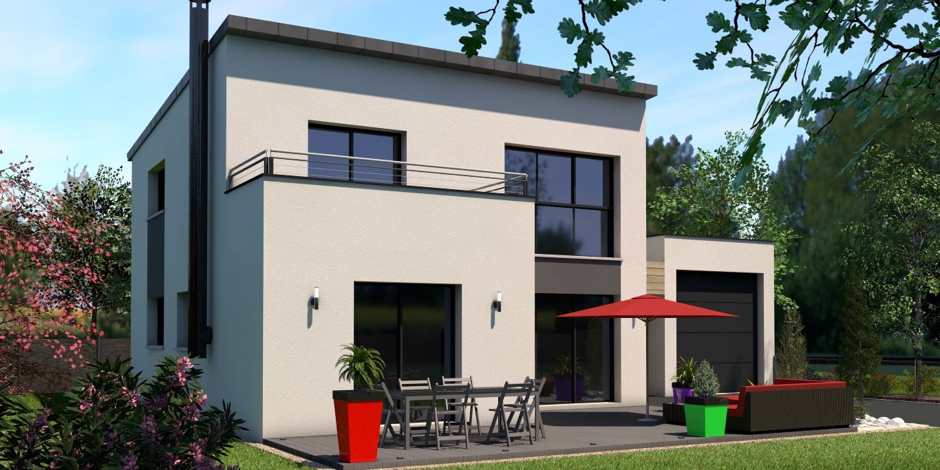 Maison lumineuse et contemporaine façade arrière