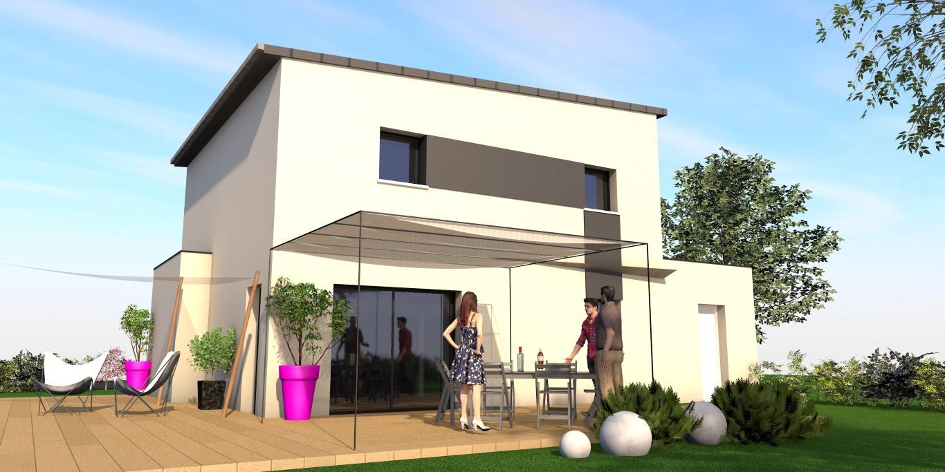 Maison toit plat façade arrière