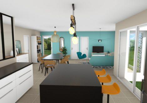 Vue intérieure 3D d'une maison plain pied