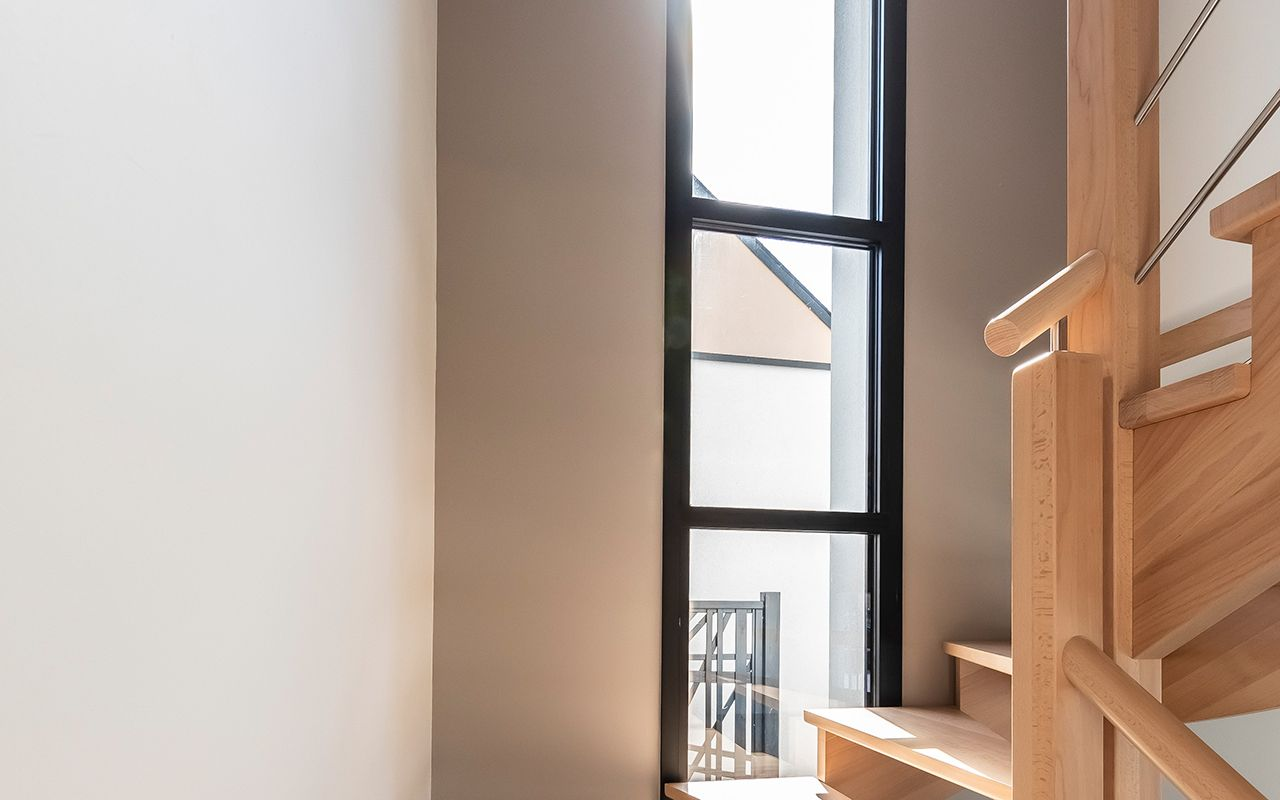 Escalier bois et lisses inox