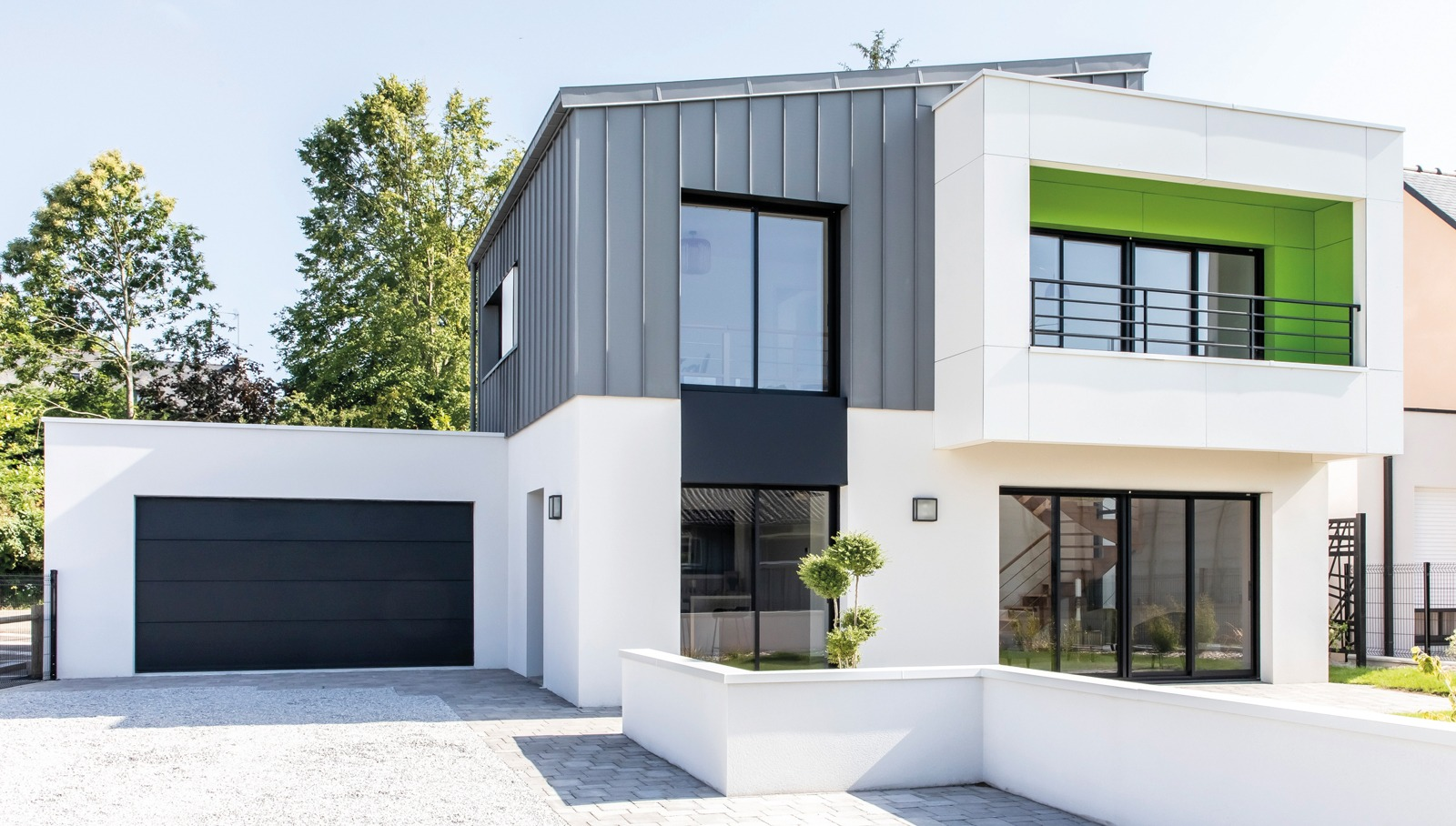 Maison design avec toiture monopente