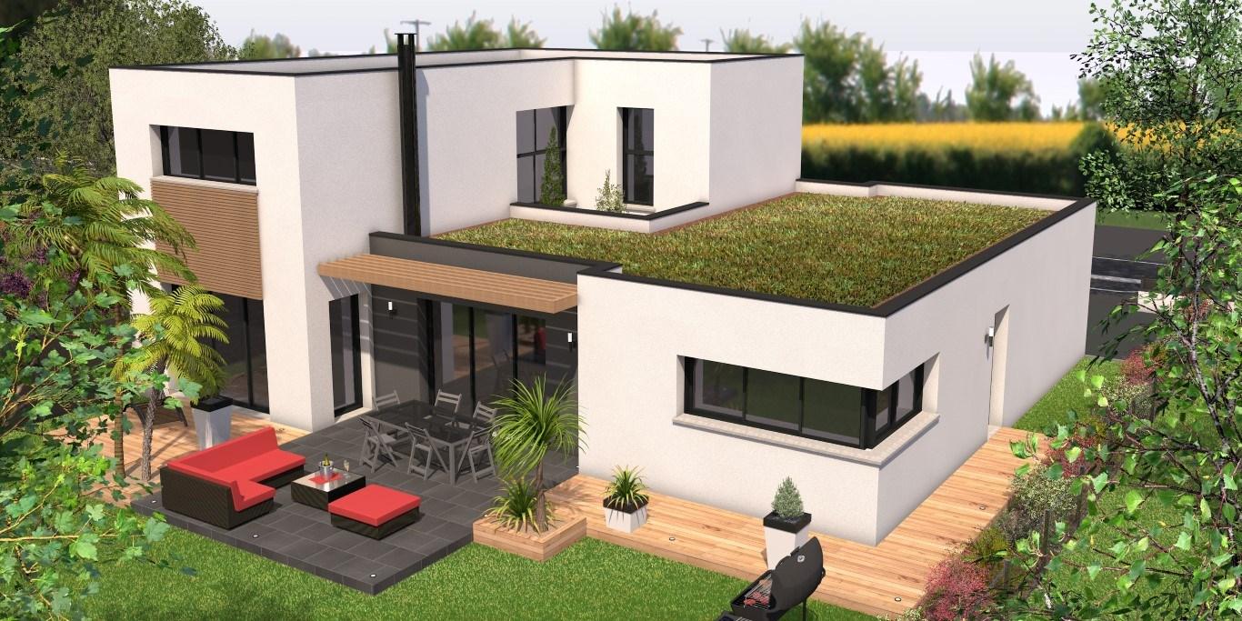 Maison contemporaine avec toiture végétale
