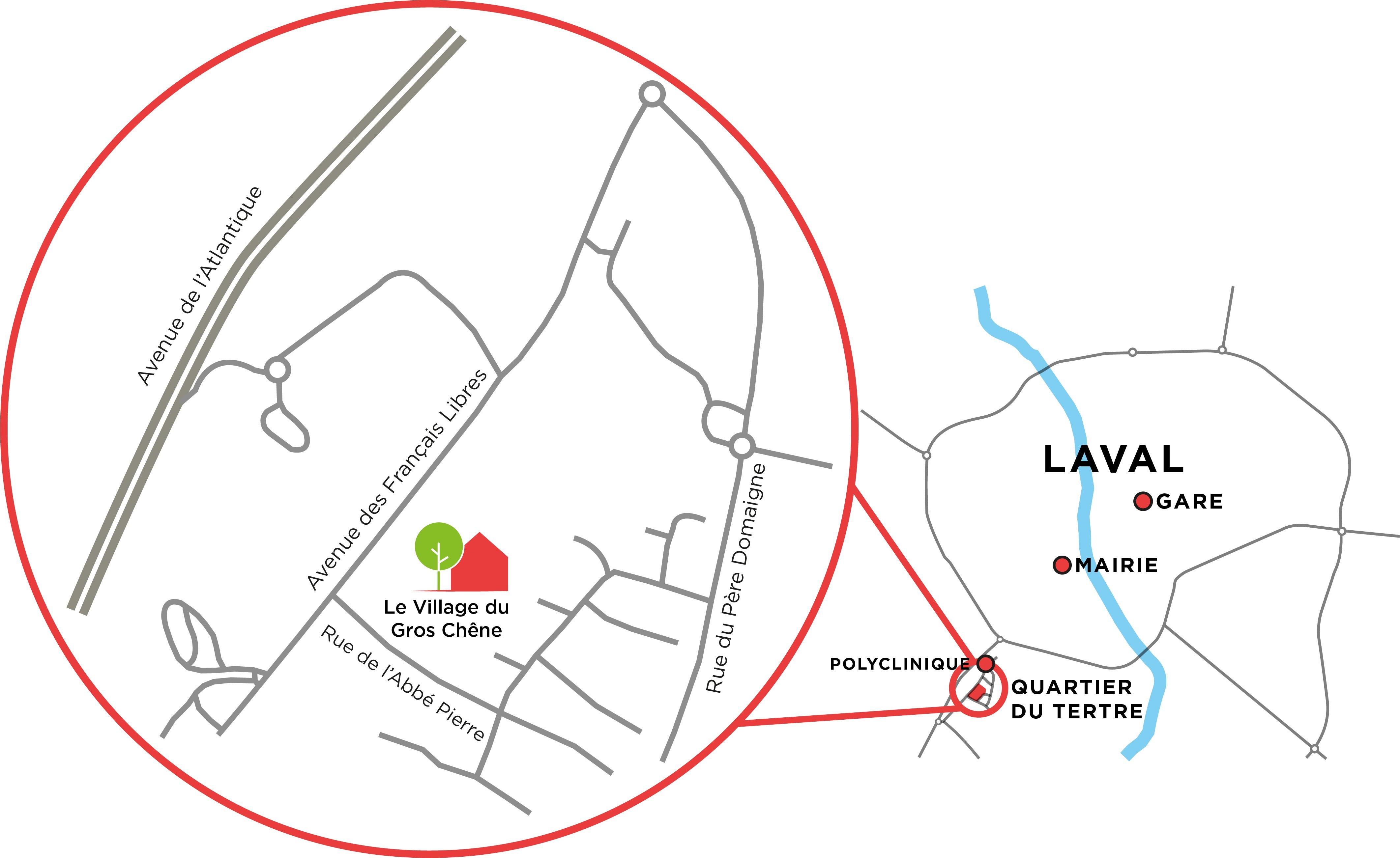 Plan d'accès Le Village du Gros Chêne à Laval