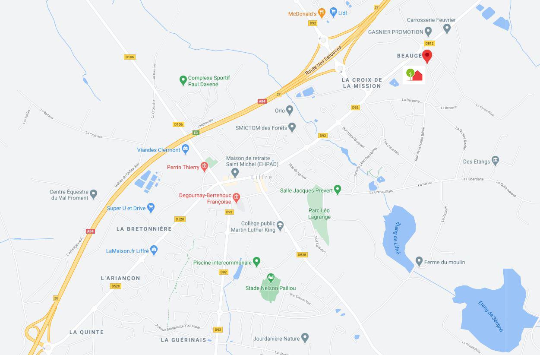 Plan d'accès à la porte ouverte de Liffré